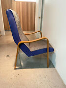 Vintage Thonet Mid Century Modern Bentwood High Back Upholstered Arm Chair