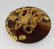 Antique Russian Silver Gilt Citrine And Emerald Eyes Octopus Paperweight.