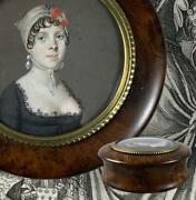 Antique French Burled Wood Snuff Box C1795-1810 Portrait Miniature Incroyables