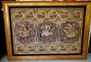 Heavy Large Framed Vintage Burmese Kalaga Hand Crafted Embroidered Tapestry