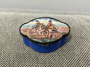 Antique English Battersea Enamel Patch Pill Snuff Trinket Box The Hobby Horse