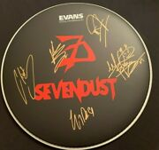 Sevendust Autographed Evans Drumhead W/coa Signed By The Entire Band W/pics