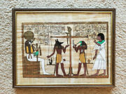 Egyptian Art Hand Painted On Papyrus Framed