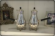 Pair Of Antique Victorian Silver Plated Chocolate Pots