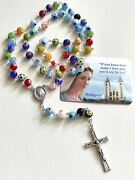 Catholic Rosary Murano Crystal Glass From Medjugorje Rosaries+gift Holy Card