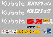 Kubota Kx121-3 Mini Digger Complete Decal Sticker Set With Safety Warning Signs