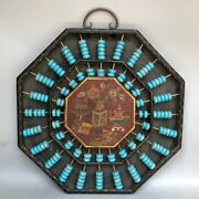 Antique Chinese Wood Lacquerware Turquoise Bagua Frame Abacus Wall Hanging Plate