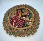 Vintage Rooster Chicken Braided Straw Wicker Woven Trivet Hot Pad 9 Colorful