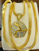 22k 916 Fine Yellow Real Uae Gold 22andrdquomen Womenandrsquos Triangle Set Necklace 4mm 17.6g