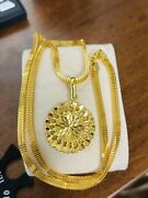 22k 916 Fine Yellow Real Uae Gold 22andrdquo Men Womenandrsquos Flower Set Necklace 4mm 16.31g