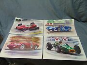4 Vintage Nascar Racetracks Prints 19 X 12 Ford Gt 72 Colorful All Different