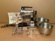 Vintage Sunbeam Mixmaster 12 Speed Mixer Mmb Brown And Chrome W/ss Bowls And Beaters