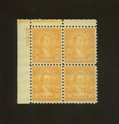 United States Postage Stamp 591 Mnh Vf Plate No. 18532 Block Of 4
