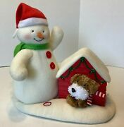 Hallmark 2011 Jingle Pals Snowman With Dog In Doghouse Animated Plush