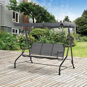 3-seat Outdoor Backyard Swing Chair Patio Bench Adjustable Canopy Padded
