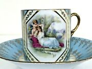 Antique Hand Paint Turquoise Gold Figural Maiden W Angel Putto Cup Saucer Set