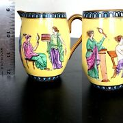 Vtg Antique And Co Ny Hand Paint Greek Figural Yellow Pitcher Creamer 3