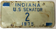 Indiana U.s. Senator License Plate - Low Number 2 - Free Shipping