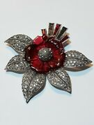 Invisible Set Red Rhinestone Poured Glass Flower Vintage Pave Leaves Brooch Pin