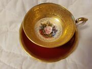 Aynsley Cabbage Rose Teacup And Saucer-burgundy Red With Pink Rose-j.bailey