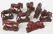 """Vintage Chinese Carved Wood 3-4"""" Small Horse Figurine Lot 8 Mu Wang Glass Eyes"""