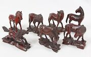 """Vintage Chinese Hand Carved Wood 4-5"""" Horse Figurine Lot 7 Glass Eye"""