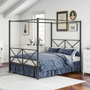 Metal Canopy Bed Frame With Vintage Headboard And Footboard Sturdy Metal Frame