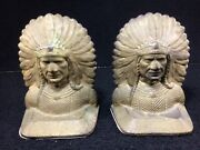 Vintage Cast Iron Native American Indian Chief Bookends Doorstops 6 Tall. Heavy