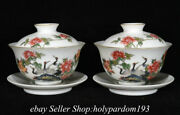 4 Marked Chinese Famille Rose Porcelain Flower Crane Lid Water Calyx Cup Pair