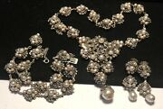 Miriam Haskell Pearl Parure Rare Vintage Signed Pearl Dangle 3pc Dangle Set A18
