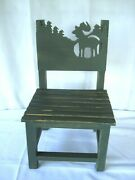Vtg Childand039s Wooden Chair Slatted Seat Rustic Moose Trees Cabin Lodge Primitive