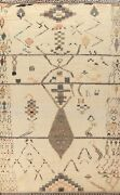 Geometric Moroccan Oriental Area Rug Plush Wool Hand-knotted Ivory Carpet 9x13