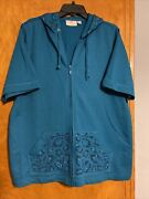 Quacker Factory Womens Short Sleeve Zip Up With Hood Embellished Teal Size Xl