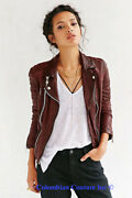 Womens Designer Leather Jacket Size Xl Color Redwine Colombian Couture