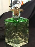 Moser Karlsbad Emerald Itaglio Cut Decanter With Stopper, Lock, And Key