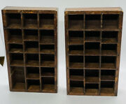 2 Wood Wall Curio Shelf Miniature Trinket Collectible Display 35 Cubby 7.5andrdquo