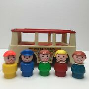 Vintage Fisher Price Little People Mini Bus With Family 5 Figures Toy Play Set