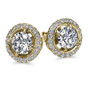 Andpound7050 Halo Diamond Earrings Yellow Gold Studs 1.23 Carat Vs2 D Cttw 52078304
