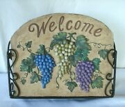 Vtg Wrought Iron Resin Mail Box Letter Holder Welcome Wall Basket Grapes On Vine