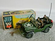Vintage Arnold 2500 2600 Us Army Jeep 1953 Tinplate Toy Very Rare With Box I790