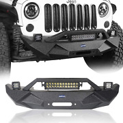 Hooke Road Wrangler Blade Front Bumper W/winch Plate And 72w Light Bar And 18w Fog And