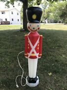 Vintage Empire 31andrdquo Blow Mold Toy Soldier W/ Cord Lighted Christmas Yard Decor