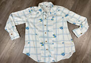 Free People Shirt Size M White Floral Window To My Heart Plaid Button Down Top