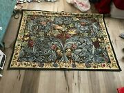Large Vintage Embroidered Birds And Flowers Tapestry Wall Hanger With Ends