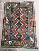 Pre 1900 Antique 3' 8 X 5' 8 Kazakh From The Caucasus Mountains Free Shipping