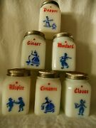Six / 6 Vintage Mckee Milk Glass Spice Containers Shakers Dutch Cloves Allspice
