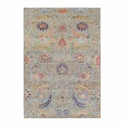 6and0392x9and0391 Sickle Leaf Design Silk With Wool Hand Knotted Taupe Rug G63209
