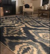 New 8' X 10' Area Rug Williams Sonoma Brand/pottery Barn/ Wool/ River Ikat/blue