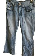 Guess Rancho Jeans Flap Pocket Mens 34x30 True 2 Size Relaxed Bootcut Denim
