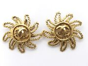 94a Vintage Solar Motif Earring Gold-coloured Shippingfree From Japan